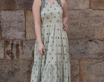 Breezy Blockprinted Halter Dress flared boho indian style