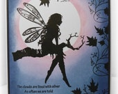Moonlight  tree fairy - gorgeous Fairy handmade greetings card