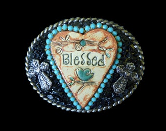 Western Heart Blessed Christian Crosses Turquoise Rhinestones and Black Tourmaline Belt Buckle