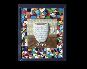 Mosaic China Tile Coffee Cup Kitchen Wall Hanging
