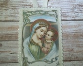 Holy Card Greeting Card And Paper Wall Plaque With Ribbon Hanger Blank On Back For Message