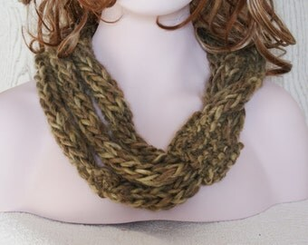Knitted Chunky Rope Neckwarmer Necklace Khaki and Earthy Tones