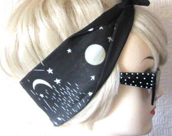 Moon Stars Hair Tie Print Rockabilly Head Scarf by Dolly Cool Occult Dark Arts Constellation Witch witchy