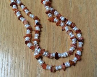 "Vintage 34"" rice pearls orange carnelian chips necklace, exotic organic tiny pearls carnelian chips long necklace"