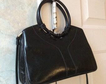 Vintage black leather Rolf's double handles purse, black glazed leather handbag or shoulder bag, smaller black leather Rolfs organizer bag
