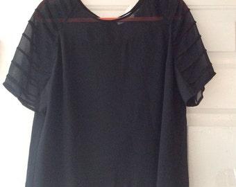 Vintage black short sleeved Calvin Klein blouse, dressy professional black semi sheer top, sz M or L black silk feel designer blouse
