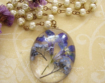 Resin Jewelry Real Forget Me Nots Necklace Real Flower Jewelry Pressed Flower Necklace Pendant Necklace Gift For Women