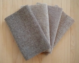 "Hand Felted Wool, RIVER ROCK, Soft Grayish Tan Textures, Four 6.5"" x 16"" pieces for Rug Hooking, Applique and Crafts"