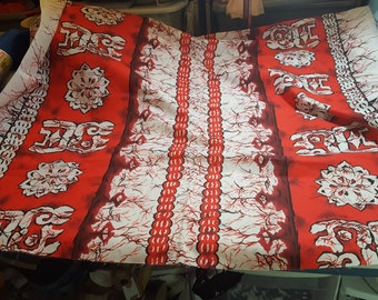 Cotton Hawaiian floral Print Red and White 2-1/4yd