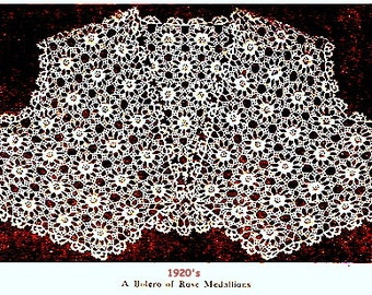 Bolero - Shrug of Rose Medallions Crochet Pattern 1920s 723037