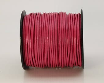 5 feet Fuchsia Pink Leather Cord - 2mm Genuine Leather Round Cord (08) - USA Seller