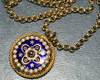 Vintage French  Pendant . Necklace . French Bresse Enamel Jewelry