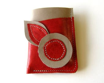Leather Wallet 3 Triple Pocket - Larger Size - Flower with Double Leaves Red over Dove Grey