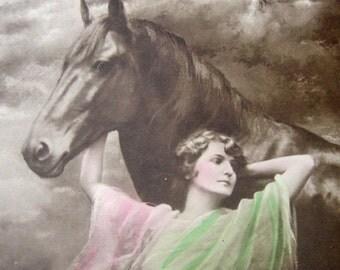 Antique Art Nouveau lady and horse photo postcard, Antique horse photo postcard, Antique girl with horse photo postcard, Antique horse RPPC