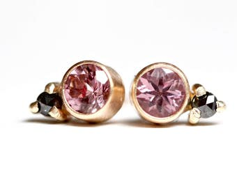Lotus Garnet and Rose Cut Black Diamond Studs in 14k Gold - Brushed Modern Finish - Bezel Set Gemstone Posts - Faceted Blush Pink Earring