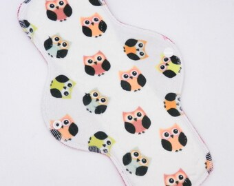"""12"""" Moderate Flow Reusable Cloth Menstrual Pad ~ Made w/ Owls Minky, Windpro ~ Day Pad, MotherMoonPads Cloth Pad"""