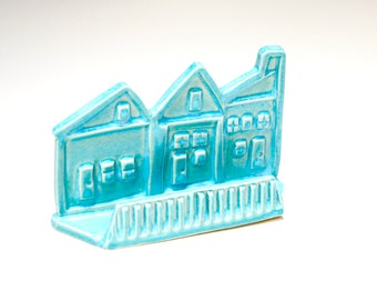 Card display,business card holder, town houses ,real estate cards,desk ornament,ice blue card display,blue office decor,pottery card holder