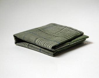 Pocket square - Glen plaid double sided pocket square - Reversible Handkerchief -  Made in Italy -  Faded sage green.