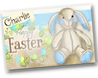 Kids PLACEMAT Easter Bunny Children's Personalized Wipe-able Place Mat Learn to Set the Table Laminated Kids Placemat with N
