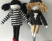 Custom order for Cath Handmade rag doll set of 2 dolls plus outfits and sneakers