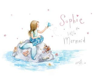 Personalised mermaid name art, nursery art, kids room art print, little mermaid