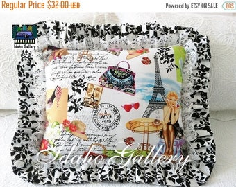 SALE 20%OFF In Stock Only Paris Pinup Girl Retro Kitch Style Romantic Ruffled Stuffed Decorative Bed Pillow