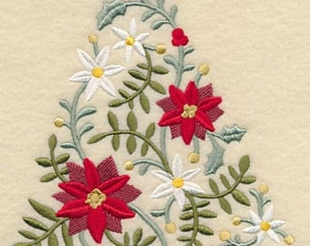 Embroidered Poinsettia Towel -Christmas Tree Towel - Flour Sack Towel - Hand Towel-Bath Towel - Embroidered Christmas Stocking - Apron