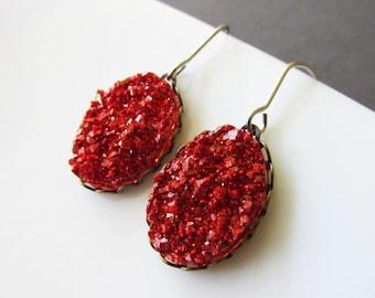 Red Oval Faux Druzy Drop Earrings