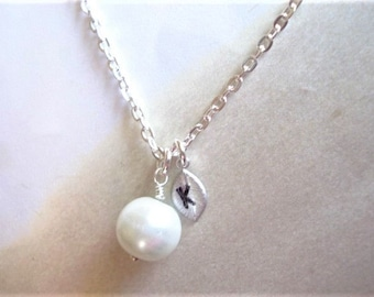 Pearl Necklace Bridesmaid Necklace Initial Necklace Hand Stamped Initial Necklace Wedding Jewelry Bridesmaid Gift