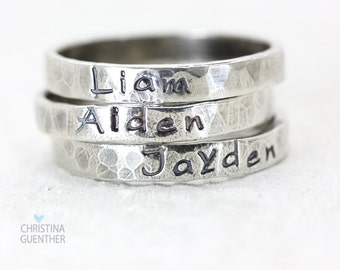 Personalized Name Rings - Sterling Silver Stackable Rings - Stacking - Custom Jewelry - Hand Stamped Jewelry - Names Words Mantras