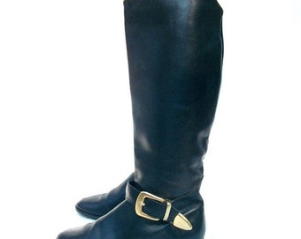 SALE 90s Black Leather Riding Boots size 5.5 HUNT CLUB Buckles and Straps