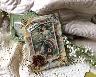 Vintage-style Thanksgiving Card - Fall Season Card - Vintage Pilgrim Card