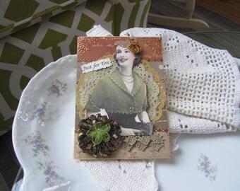 Handmade Card - Friendship Card - Vintage Lady Card - Card for Grandma