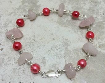 As Seen On Jane the Virgin Rose Quartz Freshwater Pearl Bracelet. Sterling Silver Jewelry.