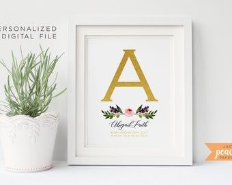 CUSTOM MONOGRAM 8x10 wall art | birth announcement | gold foil effect | floral pattern | personalized | print at home