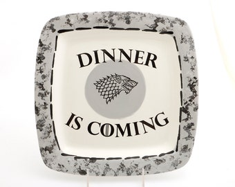 Game of Thrones platter ,  Dinner is coming , House of Stark , Jon Snow ,  home and living, kitchen , ceramics and pottery , wedding gift