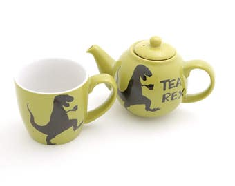Tea-Rex Dinosaur Tea for one set , t-rex wordplay , funny gift for tea lover - small teapot and tea mug ship together - upcycled english tea