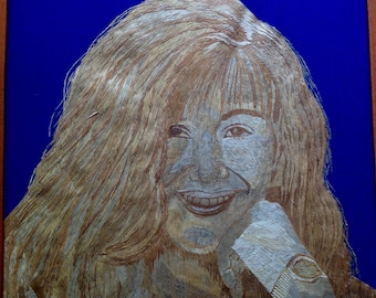 Suzanne Summers three is company star portrait handmade with rice straw. Unique collectible art Hollywood TV show of 80s Rice Straw Art