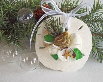 "BEACH DECOR ORNAMENT, shell/sand dollar ornament No. 3, Christmas ornament, nautical ornament, coastal Christmas, beach wedding favor, 3.5"""