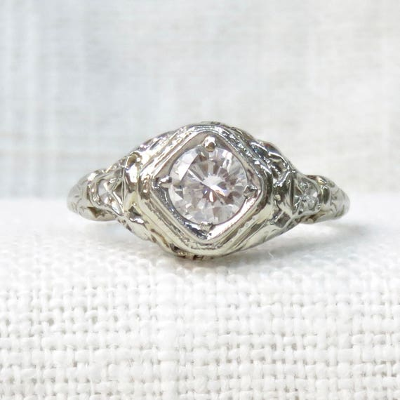 1920s Diamond Engagement Ring in 18k White Gold .52 Carats; Art Deco Engagement Ring; Vintage Diamond  Ring; Promise Ring; Natural  Gemstone