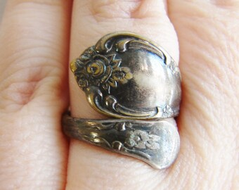 Vintage victorian style tarnished silver spoon ring- fully adjustable