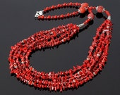 Red Coral Necklace, Multi Strands Necklace, Red Necklace, Red Wedding Necklace, Red Jewelry, Statement Necklace, Coral Jewelry, Red Gemstone