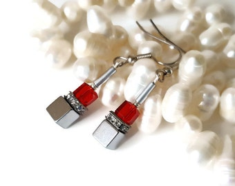 Red Cube Earrings Geometric Earrings dangled cube earrings Crystal Cube Earrings Silver earrings Crystal Cube Earrings Geometric Jewelry