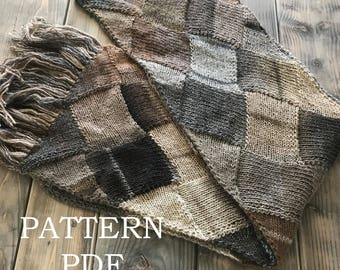 NeW PATTERN PDF - Knitting Pattern for DIY Super Scarf - Entrelac knitting - Starflower Super Scarf - Knit a scarf 122 inches long