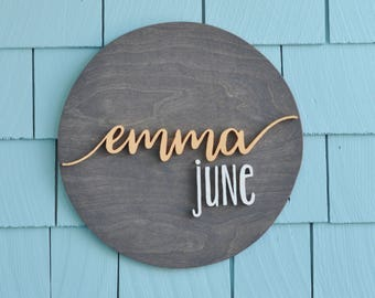 "Personalized Name Sign, Custom Nursery Decor,  14 "" Round -  Painted, Wall Decor, Baby Shower, Gift, Nursery Art, Bedroom Sign"