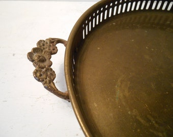 Vintage Brass Round Tray Ornate Floral Handles