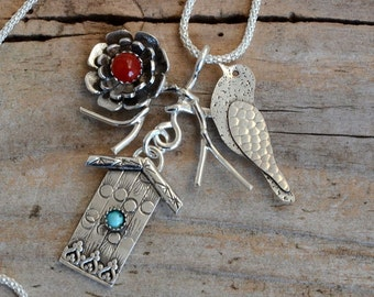 Red coral bird sparrow birdhouse necklace pendant genuine turquoise natural stone jewelry oxidized sterling silver flower unusual nature