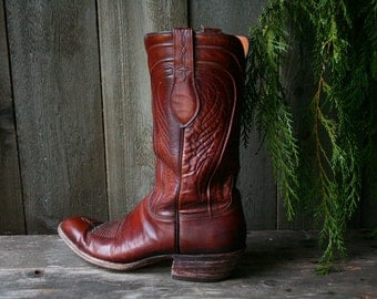 Vintage Lucchese Boots Western Mens Size 11 A Hand Made Cowboy Boots Cognac Color