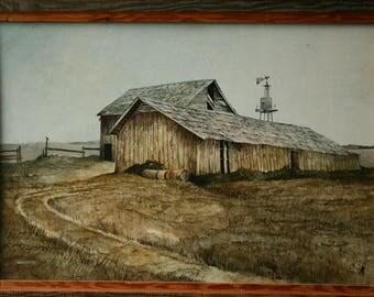 Vintage Oil Painting On Wood Rustic Landscape Original Art Hand Painted Western Landscape Vintage From Nowvintage on Etsy