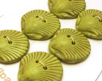 Handmade Buttons Green Shell Shape 25mm